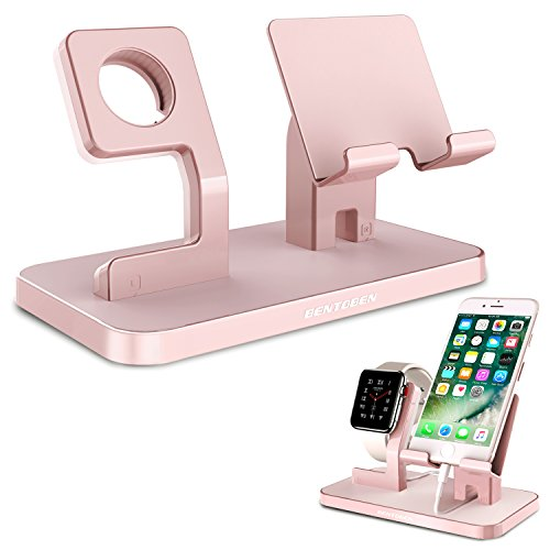 Apple Watch Stand  iPhone Stand  BENTOBEN Iwatch Charging Stand Dock Station Cradle - Rose Gold